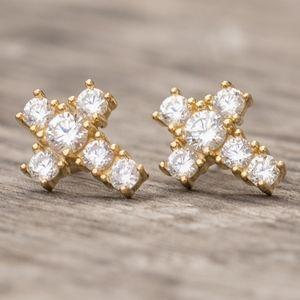 Small 14K Gold 5A Cross Mens Stud Earrings